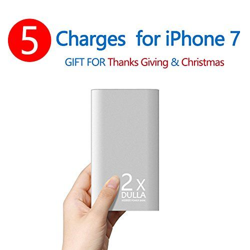 DULLA M50000 Portable Power Bank 12000mAh External Battery Charger, Ultra Slim Design with 2 USB Ports for iPhone7 Plus 6s 6 Plus, iPad, Samsung Galaxy and More(silver)