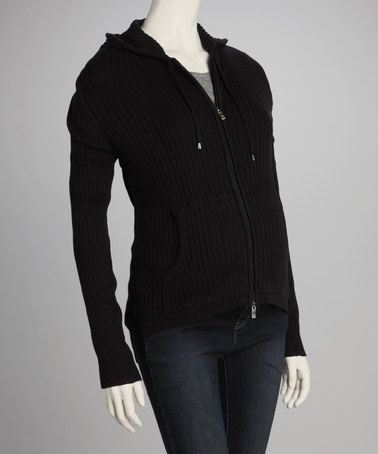 Take a look at this Black Ribbed Maternity Zip-Up Hoodie by Lilo Maternity on #zulily today!