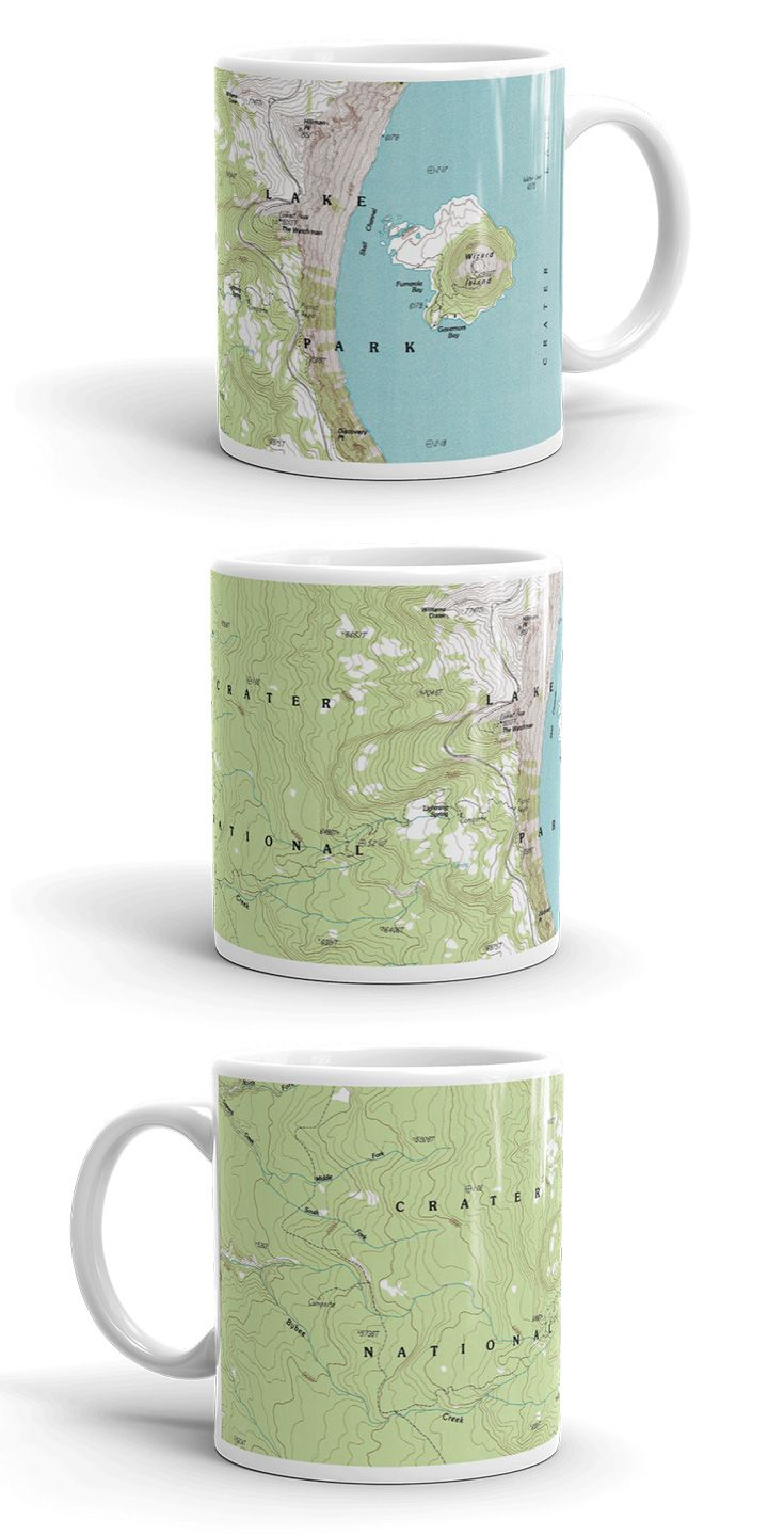 Crater Lake Topographic Map.National Park Map Coffee Mugs The Great Outdoors Hiking