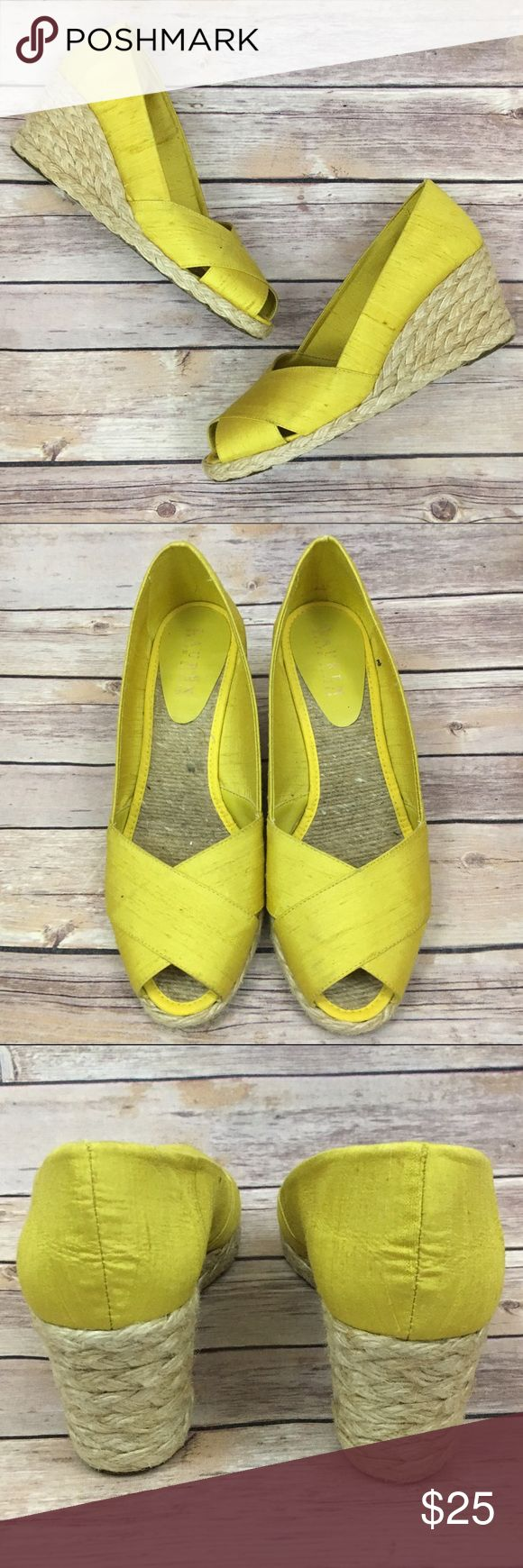 Ralph Lauren 8 Yellow Espadrilles Opened Toe Shoes Ralph Lauren Womens Size 8 Yellow Espadrilles Opened Toe Wedge Shoes SPAIN Lauren Ralph Lauren Shoes Sandals