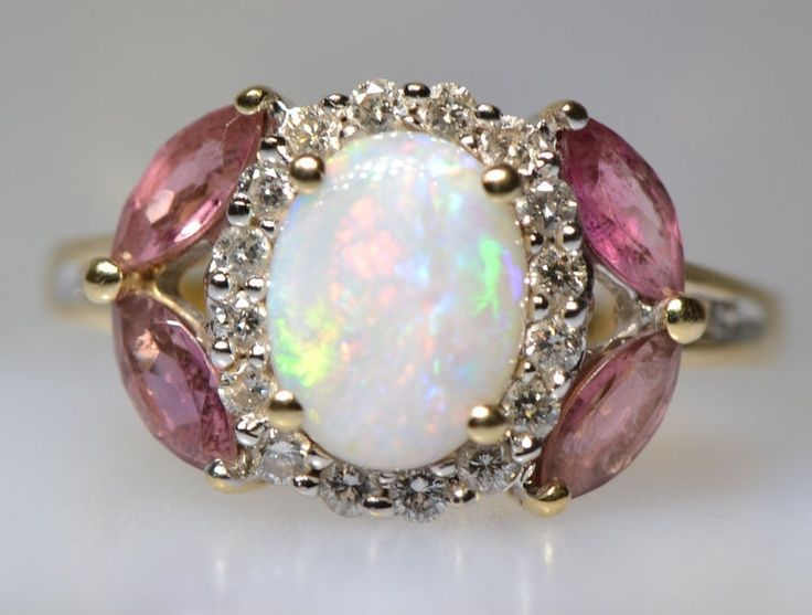 Australian Opal Diamond Rubellite Tourmaline Ring/September Birth stones- Opal & Tourmaline