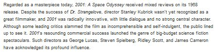 some debatable assertions in the amazon blurb for 'Space Odyssey: Stanley Kubrick, Arthur C. Clarke, and the Making of a Masterpiece' (seemingly every nonfic book has such a cumbersome title nowadays?)