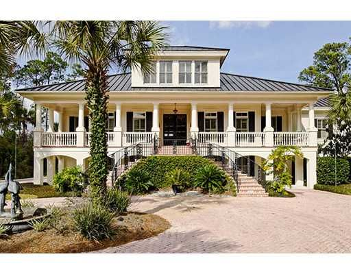 Low country home with hip roof and large dormer exterior for Low country house