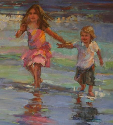 DETAIL OF KIDS RUNNING ON THE BEACH BY ELIZABETH BLAYLOCK, painting by artist Elizabeth Blaylock