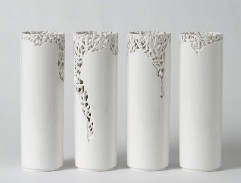 by Timea Sido Contemporary Ceramics  Maybe apply texture let go into piercings toward top.