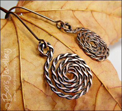 Twisted and hammered antiqued copper spiral earrings