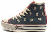 Converse Collective Edition All Star American Flag Red Blue High Tops Canvas Platform Shoes Sale