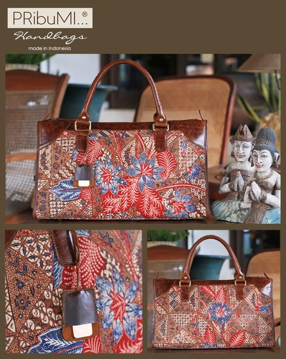 BORNEO  Handbag / Premium Series / Serial # 0212156J / Kain Kopitutung Buketan Sigar Kupat / Burnt Sienna Italian Premium Genuine Cow Leather / 10 December 2012 / by Cici Saharto
