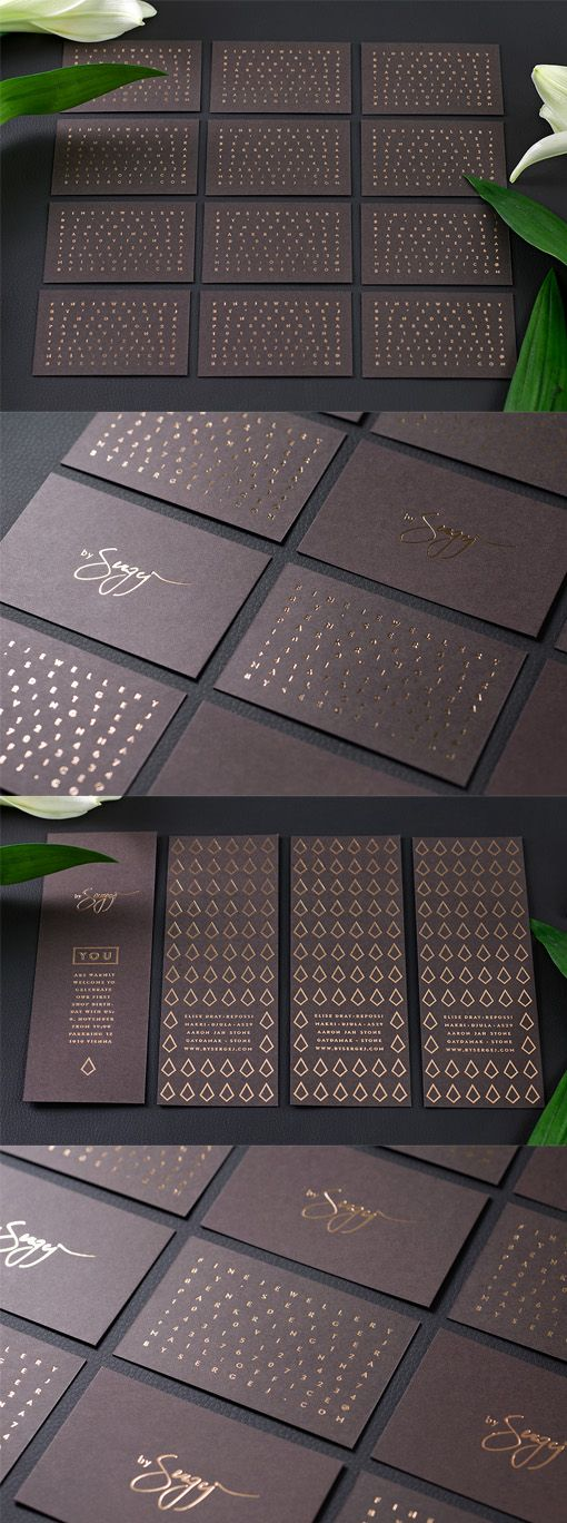 Elegant Copper Foiled Business Card Design For A Luxury Jeweller