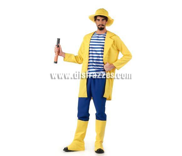 Disfraz de Pescador Deluxe para hombre. Alta calidad, hecho en España. Disponible en varias tallas. Inlcuye chaqueta, pantalón, gorro y cubr...