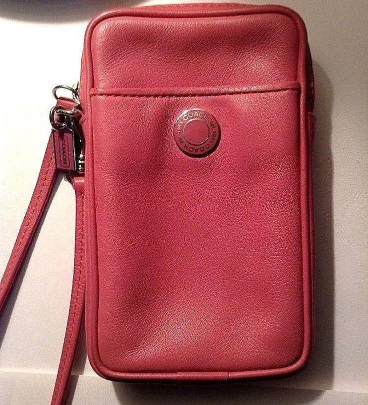 COACH Wristlet Pink Leather Cell Phone Holder Zipper Closure Vintage Purse #Coach
