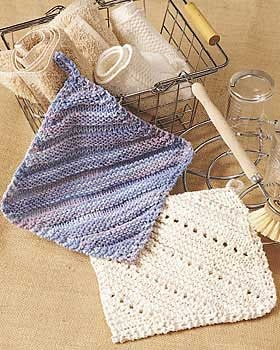 Two pretty and practical knit dishcloth designs. Approx. finished size 7 ins [18 cm] square. Made from Bernat Handicrafter Cotton. 5 mm (US 8) knitting needles & size 4.5 mm (US 7) crochet hook.