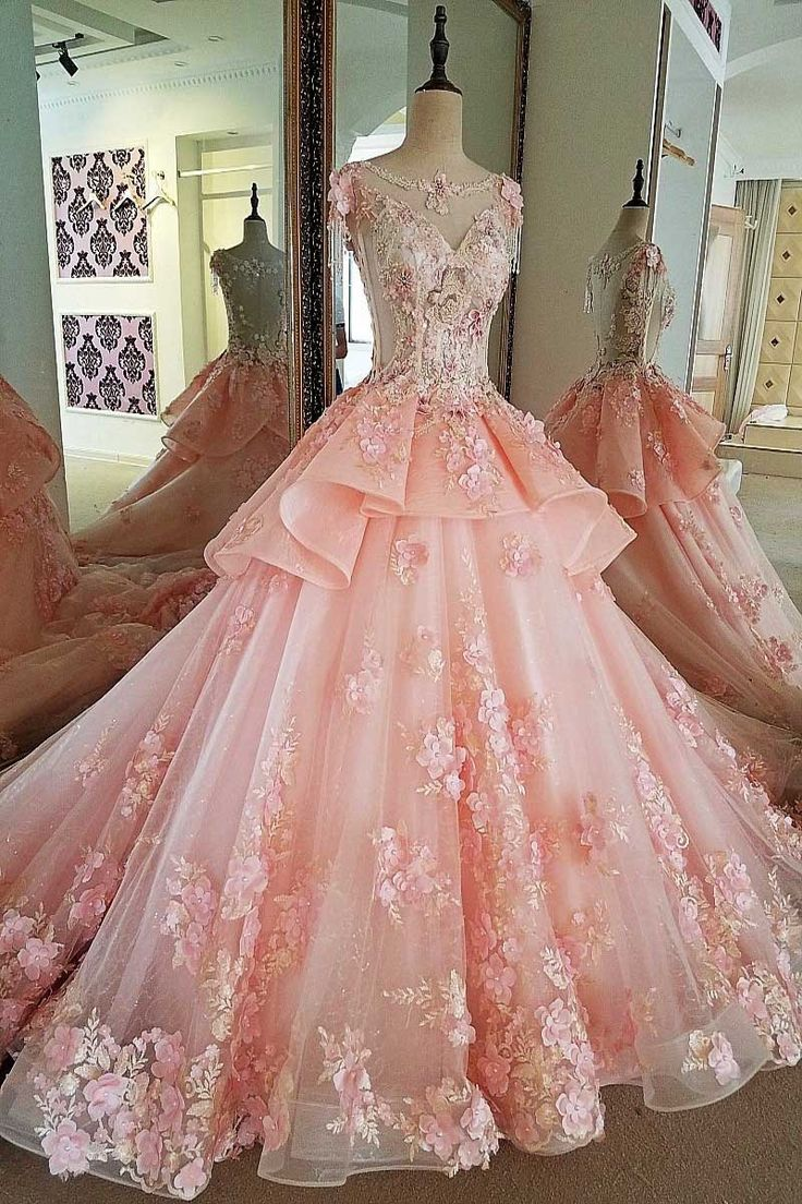 Elegant Pink Wedding Dress Round Neck Sleeveless Ball Gown Cathedral Train ...