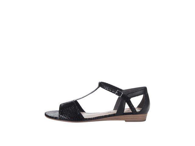 Černé sandály s páskem přes nárt s.Oliver -