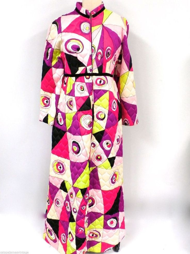 Vintage EDUARDO For Saks Signed Iconic Vibrant Print Quilted Loungwear Robe M #Eduardo