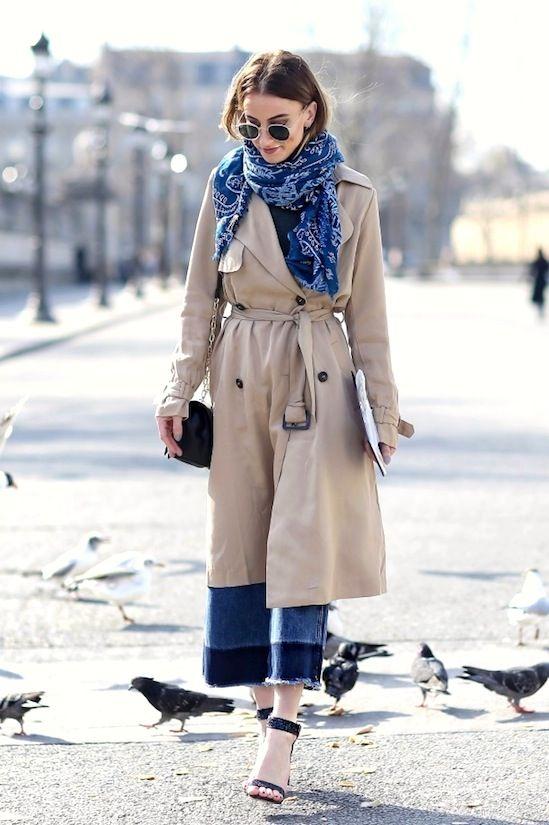 Le Fashion Blog Paris Street Style - Blue Bandana Scarf, Trench Coat, Color Block Jeans Sandals, #scarf