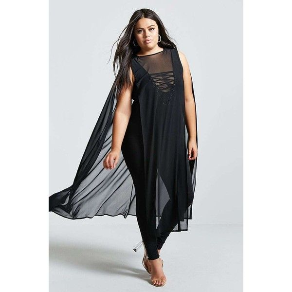 Forever21 Plus Size Sheer Mesh Poncho ($25) ❤ liked on Polyvore featuring plus size women's fashion, plus size clothing, plus size outerwear, black, forever 21, style poncho and forever 21 poncho
