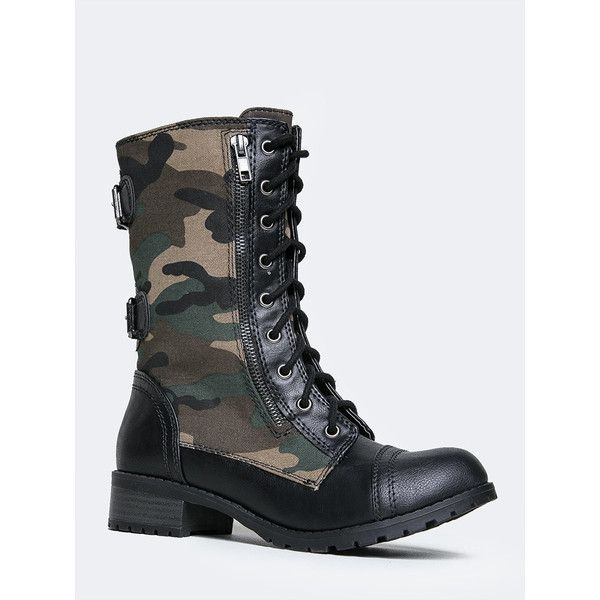 Soda Camouflage Combat Boot (135 BRL) ❤ liked on Polyvore featuring shoes, boots, mid-calf boots, military lace up boots, zipper boots, faux-fur boots, lace up boots and mid calf combat boots