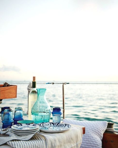 .: Table Settings, Beach House, Blue, Summer, Sea, Place, Picnic