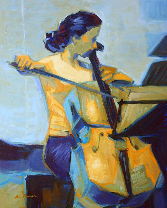 Cubist oil painting of classical musician playing the double bass. Blue color on this picture evocates a solemn atmosphere of the classical concert while orange draws attention to the image focus - the young woman and the musical instrument - and enlivens the scene. Although overall style of the image is cubist, the brushwork reminds impressionistic paintings.