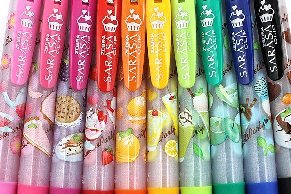 Zebra Limited Edition Sarasa Clip Sweets Party Scented Gel Ink Pens http://www.jetpens.com/Zebra-Limited-Edition-Sarasa-Clip-Sweets-Party-Scented-Gel-Ink-Pen-0.5-mm-5-Color-Set-B/pd/10580