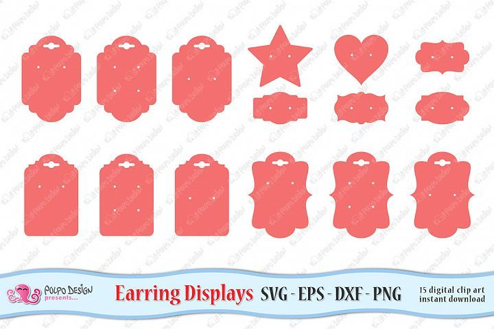 Earring display cards svg eps dxf and png 320400