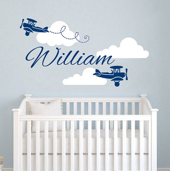 Airplane Wall Decal Name Vinyl Sticker Personalized Custom Name Biplane Clouds Decals Plane Kids Baby Name Nursery Boys Room Decor
