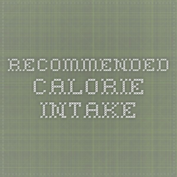 Recommended Calorie Intake