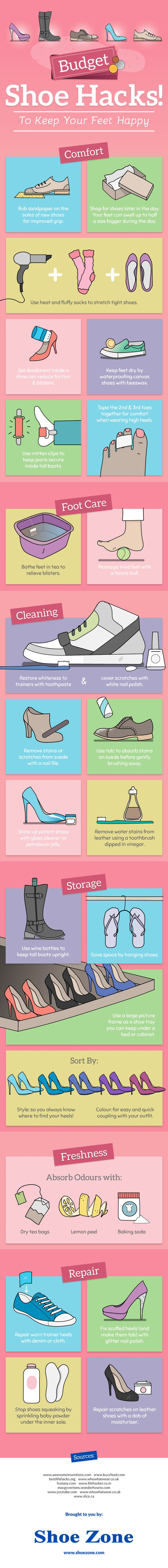 Simple budget shoe hacks infographic