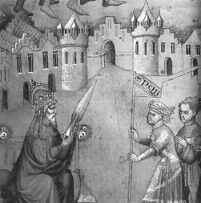 El emperador de Constantinopla sosteniendo la Lanza Sagrada. Miniatura de un manuscrito (siglo XV) de Juan de Mandeville, Biblioteca Británica, MS add. 24189 fol. 10.