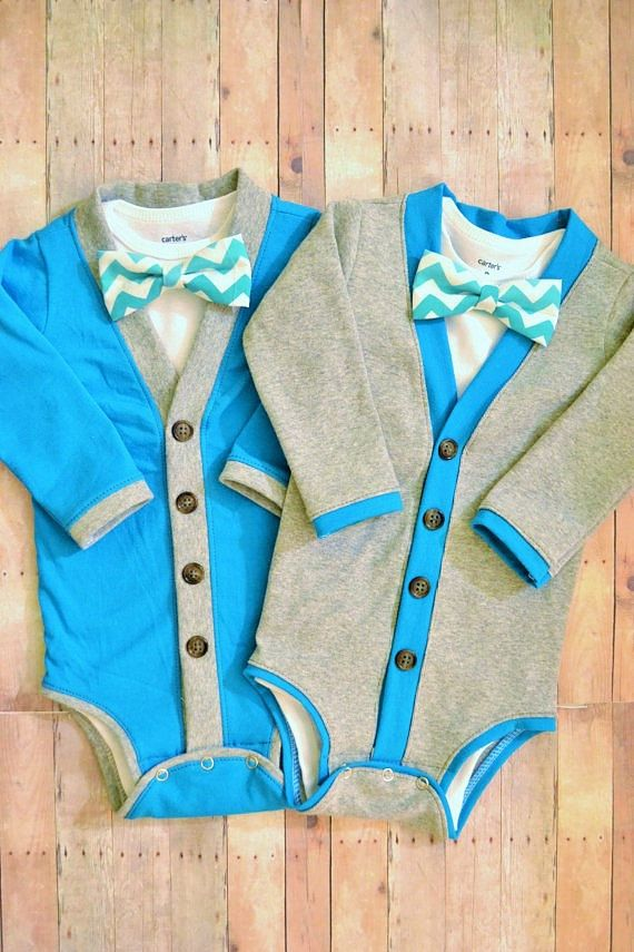 Twin Baby Cardigan One Piece Set: Turquoise and Gray with Interchangeable Tie Shirts and Bow Ties on Etsy, $65.00