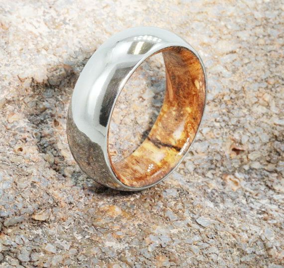 Mens Titanium Wedding Ring with Yellow Sindora Wood sleeve - 6mm Wood Wedding bands - Men's or Ladies Jewellery - Mixed Metal - his and hers
