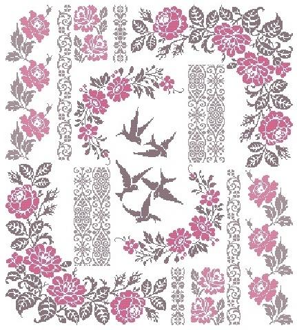 """Birds Sampler Design Area: 19, 5"""" W x 21, 69"""" H 304 x 339 stitches Archivo PDF vía e-mail $25.00USD o 18€ http://aquarellebyangiedesigner.blogspot.com.ar/"""
