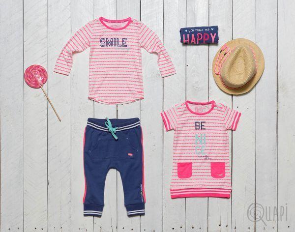 Quapi | Longsleeve Filicia Sweet Stripe | Shortsleeve Francien Jeans Blue | Sweat Pants Fiep Jeans Blue | Dress Fabia Sweet Stripe