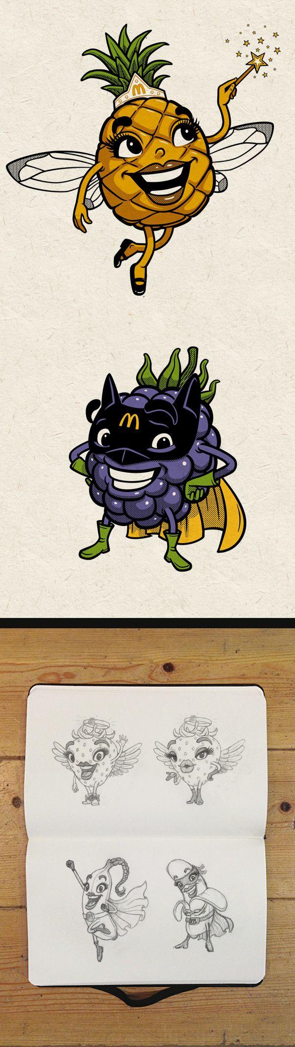 Fruit Characters McD by Andreas Krapf, via Behance