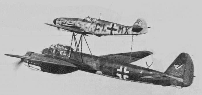 "A German ""Mistel"" Ju-88 bomber & a Me-109 fighter"