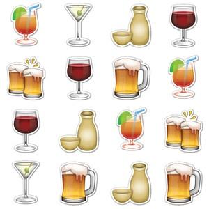 Adult Beverages Emojis, $16, by Emoji Stickers !!