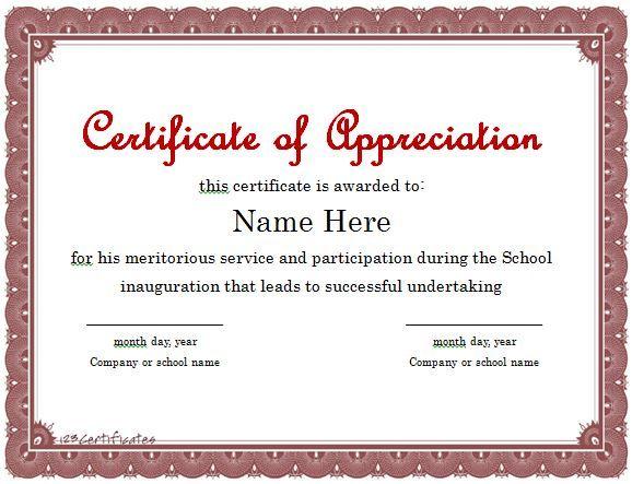 25 best ideas about Certificate Of Appreciation – Sample Certificates