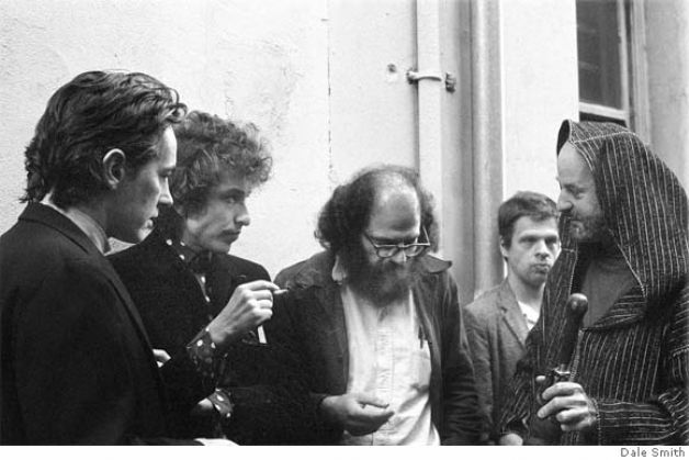 Young dylan with beat poets in north beach.