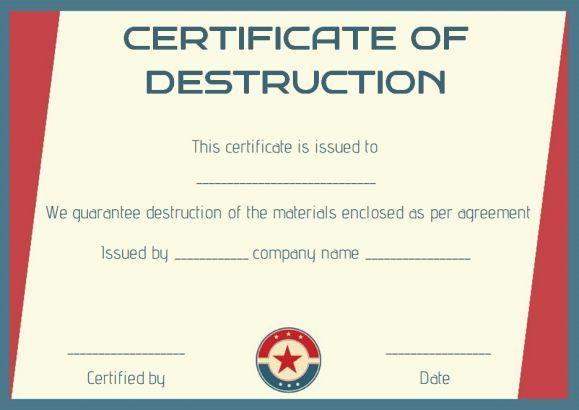 Certificate of destruction template certificate of for Hard drive certificate of destruction template