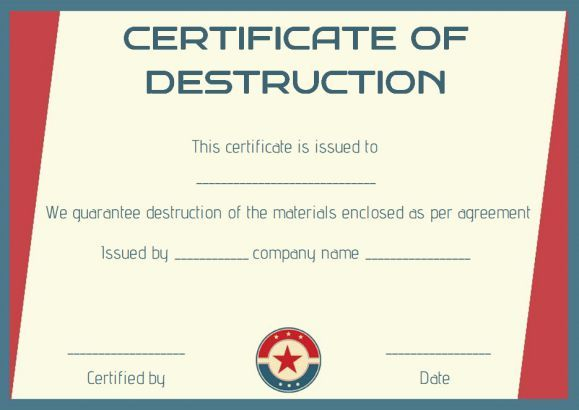 hard drive certificate of destruction template - certificate of destruction template certificate of