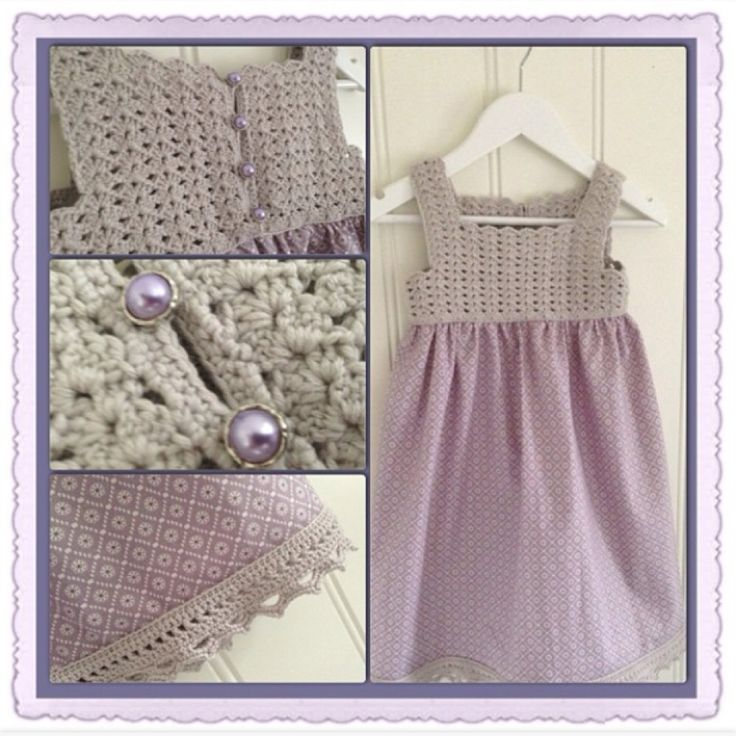 Made this dress by a little crochet and some sewing. Size 3 years