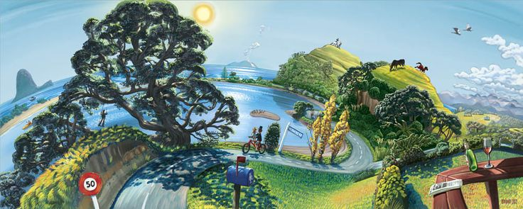 """""""Ohiwa Harbour"""" Painting by Donovan Bixley 2012"""