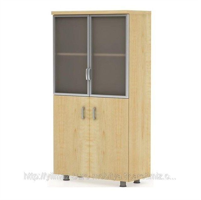 80x160 cm Cam Kapaklı Ofis Dolabı