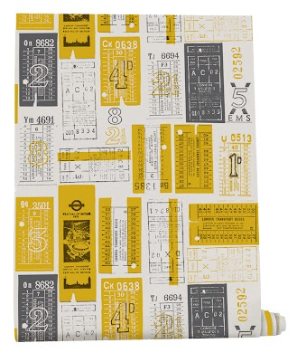 Lovely bus ticket wallpaper from Mini Moderns