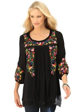Boho Floral Tunic By Denim 24/7 | Plus Size Tunics | Roamans