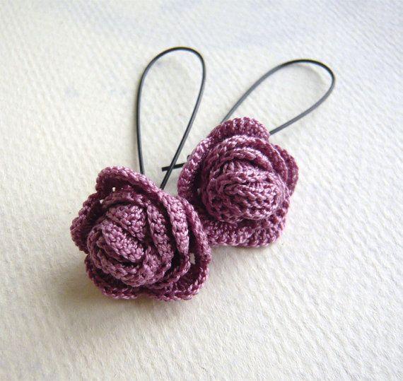 Lilac Rose Crochet Earrings - Crochet Jewelry - Lavender Earrings - Crocheted Rose Earrings - Long Dangle Earrings