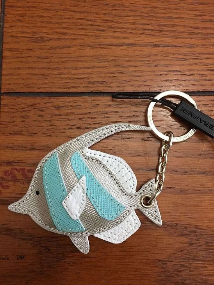 Brahmin Nautilus Angel Fish  Key Fob Genuine Leather #Brahmin