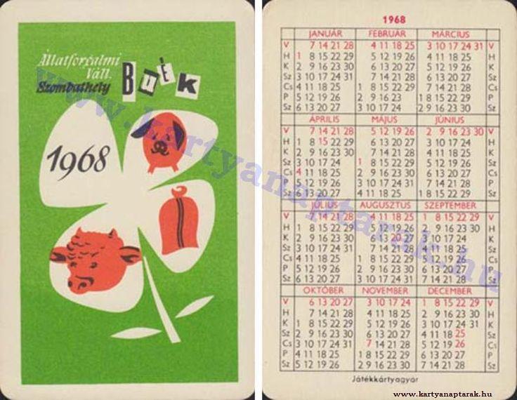 1968 - 1968_0225 - Régi magyar kártyanaptárak