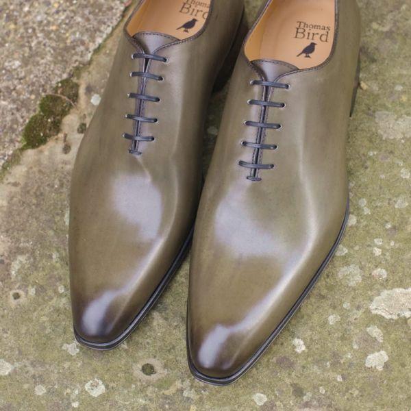 Wholecut Oxford Shoe Olive Green | Thomas Bird